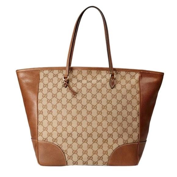 0e956eb6cba Gucci Handbags - GUCCI Bree Gg Canvas Canvas Leather Tote